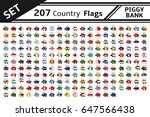set 207 country flags piggy bank | Shutterstock .eps vector #647566438