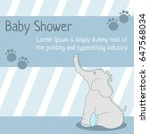 card baby shower with elephant | Shutterstock .eps vector #647568034