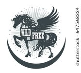 horse silhouette with wings ... | Shutterstock .eps vector #647568334