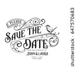 vintage save the date card with ... | Shutterstock .eps vector #647570683