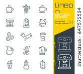 lineo editable stroke   coffee... | Shutterstock .eps vector #647572534