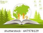 globe on opened book. green... | Shutterstock .eps vector #647578129