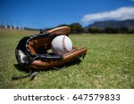 close up of baseball and glove... | Shutterstock . vector #647579833