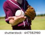 mid section of baseball pitcher ... | Shutterstock . vector #647582980