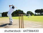 rear view of player batting... | Shutterstock . vector #647586433