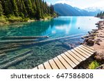 hike to turquoise waters of...   Shutterstock . vector #647586808