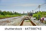 railroad switch and train | Shutterstock . vector #647588743