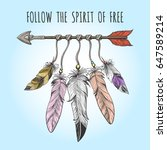 indians arrow and feathers... | Shutterstock .eps vector #647589214