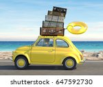 woman rush in a car with... | Shutterstock . vector #647592730