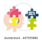woman silhouette with puzzle... | Shutterstock .eps vector #647595880