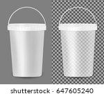 transparent plastic bucket for... | Shutterstock .eps vector #647605240