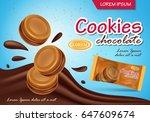 sandwich chocolate cookies... | Shutterstock .eps vector #647609674