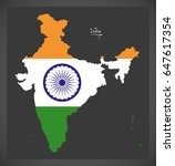 india map with indian national...   Shutterstock .eps vector #647617354
