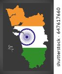 goa map with indian national...   Shutterstock .eps vector #647617660