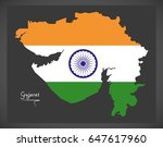 gujarat map with indian...   Shutterstock .eps vector #647617960