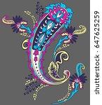 multicolor paisley ornament... | Shutterstock .eps vector #647625259