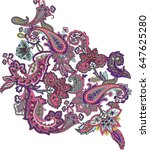 multicolor paisley ornament... | Shutterstock .eps vector #647625280