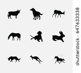 animals silhouette icons set | Shutterstock .eps vector #647633338