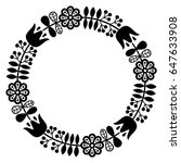 finnish inspired round folk art ... | Shutterstock .eps vector #647633908