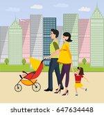 family on a walk | Shutterstock .eps vector #647634448