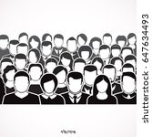 crowd of anonymous people ... | Shutterstock .eps vector #647634493