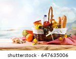 picnic wicker basket with food... | Shutterstock . vector #647635006