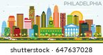 philadelphia skyline with color ... | Shutterstock .eps vector #647637028
