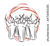 pentecost   descent of the holy ... | Shutterstock .eps vector #647640100