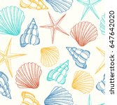 seamless background with shells ... | Shutterstock .eps vector #647642020