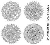 set of floral mandalas  vector... | Shutterstock .eps vector #647642239