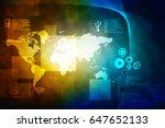2d illustration world map... | Shutterstock . vector #647652133