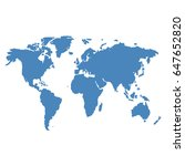blue world map vector on white... | Shutterstock .eps vector #647652820