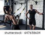sportswoman training with trx... | Shutterstock . vector #647658634