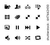 media player icons    black... | Shutterstock .eps vector #647662450