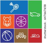 set of 7 sport outline icons... | Shutterstock .eps vector #647667658