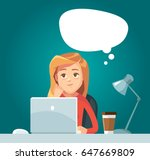 girl at work day dreaming.... | Shutterstock .eps vector #647669809