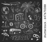 travel hand drawn doodles... | Shutterstock .eps vector #647670388