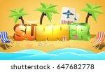 summer in beach seashore with... | Shutterstock .eps vector #647682778