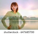 Small photo of Chinese woman with semi-formal business shirt on cityscape double exposure