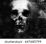 scary grunge skull wallpaper.... | Shutterstock . vector #647685799