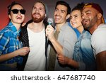 group of buddies singing... | Shutterstock . vector #647687740