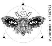 weird beautiful moth on an girl ...   Shutterstock .eps vector #647687938