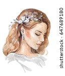 watercolor woman face. bridal... | Shutterstock . vector #647689180