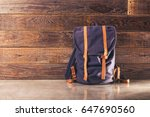 canvas and leather backpack on... | Shutterstock . vector #647690560