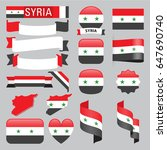 set of syria maps  flags ...   Shutterstock .eps vector #647690740