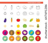 set of twelve vegetables icons... | Shutterstock .eps vector #647691286