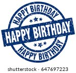 happy birthday blue round... | Shutterstock .eps vector #647697223