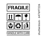 handle with care icon | Shutterstock .eps vector #647697226