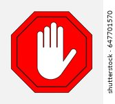 a red octagonal stop sign arm ... | Shutterstock . vector #647701570