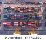 container ship in import export ... | Shutterstock . vector #647711830